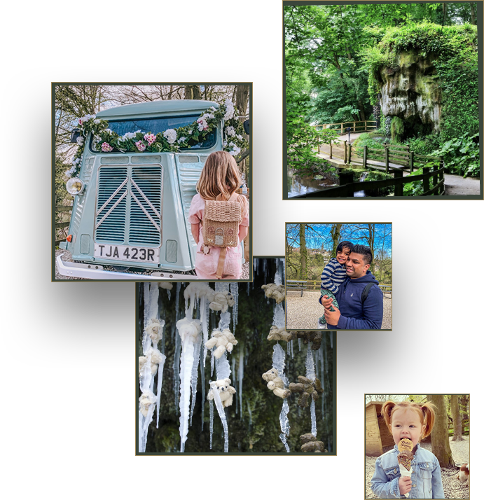 Petrifying Well with lush green leaves, man in blue hoodie carrying small boy with striped blue and grey jumper with a blue sky behind them, teddy bears frozen underneath the Petrifying Well with big icicles and a girl with red hair in bunches eating a sprinkle cone chocoalte ice cream